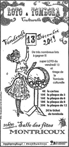 LOTO DES FANTAISIES DU CHÂTEAU #Montricoux @ salle des fêtes