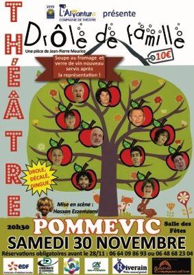 SOIRÉE THÉÂTRALE AVEC DÉGUSTATION SOUPE AU FROMAGE ET VIN NOUVEAU #Pommevic @ Salle des fêtes