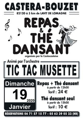 REPAS ET THE DANSANTS ANIMES PAR TIC TAC MUSETTE #Castéra-Bouzet @ salle des fêtes