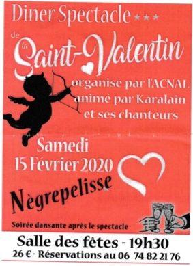 REPAS SPECTACLE DE LA SAINT-VALENTIN #Nègrepelisse @ salle de fêtes