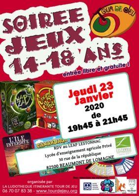 SOIRÉE JEUX LYCÉENS #Beaumont-de-Lomagne @ Lycée Lestonnac