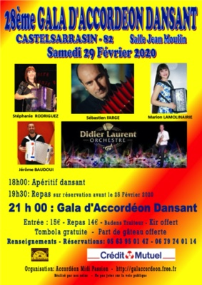 28ème GALA D'ACCORDEON DANSANT #Castelsarrasin @ Salle Jean Moulin