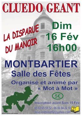 CLUEDO GÉANT: LA DISPARUE DU MANOIR #Montbartier @ Salle des Fêtes