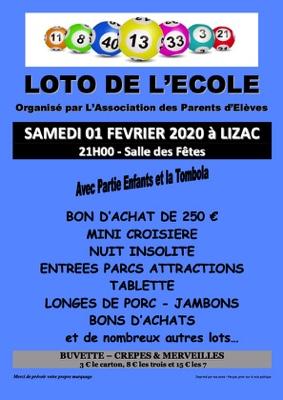 LOTO DE L'ÉCOLE #Lizac @ Salle des fêtes
