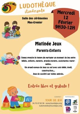 MATINÉE JEUX PARENTS-ENFANTS #Mas-Grenier @ alle des cérémonies