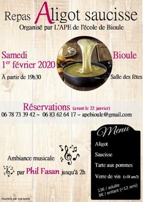 SOIREE ALIGOT SAUCISSE (ANIMATION PAR PHIL FASAN) #Bioule @ Salle de fêtes