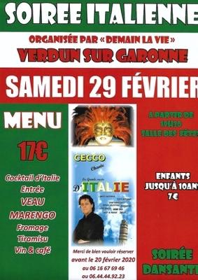 SOIREE ITALIENNE #Verdun-sur-Garonne @ salle des fêtes