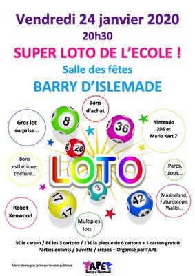 SUPER LOTO DE L'ECOLE #Barry-d'Islemade @ Salle des fêtes de Barry d'Islemade