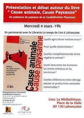 """""""CAUSE ANIMALE, CAUSE PAYSANNE"""" #Lafrançaise @ Médiathèque"""