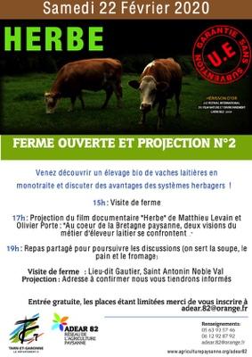 """FERME OUVERTE ET PROJECTION DU DOCUMENTAIRE """"HERBE"""" SUR LES ÉLEVAGES DE BRETAGNE #Saint-Antonin-Noble-Val @ lieu dit Gautier"""
