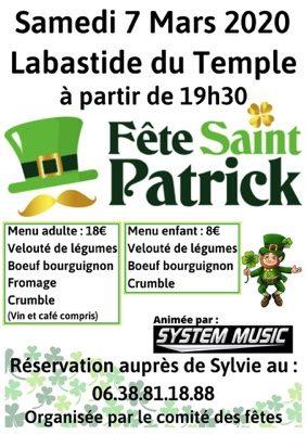 FÊTE DE LA SAINT-PATRICK #Labastide-du-Temple @ salle des fêtes
