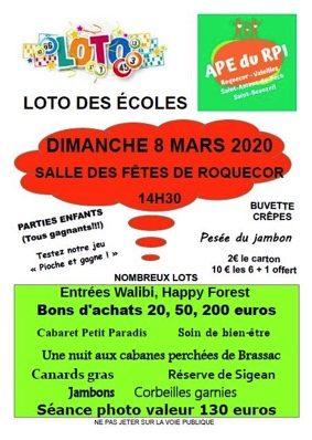 LOTO DES ÉCOLES #Roquecor @ Salle des fêtes