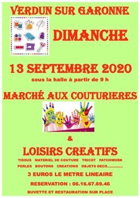 MARCHE AUX COUTURIERES ET LOISIRS CREATIFS #Verdun-sur-Garonne @ HALLE