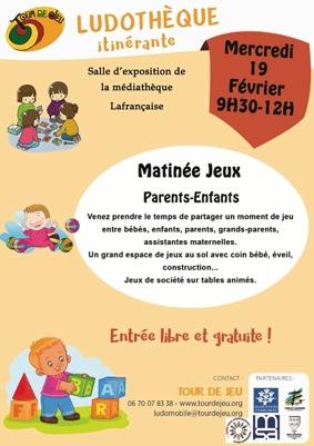 MATINÉE JEUX PARENTS-ENFANTS #Lafrançaise @ Salle d'exposition de la Médiathèque