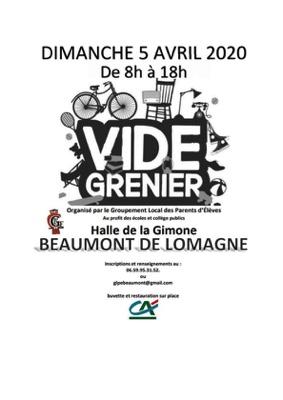 VIDE-GRENIER #Beaumont-de-Lomagne @ Halle de la Gimone