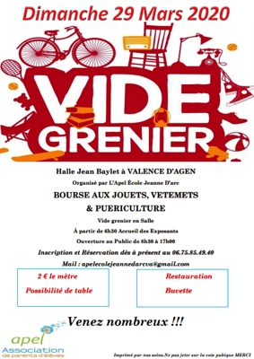 VIDE GRENIER, BOURSE AUX JOUETS... #Valence d'Agen @ Halle Jean Baylet