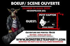 BOEUF/SCÈNE OUVERTE AVEC PETIT RAPTOR (FOLK/ROCK) #Nègrepelisse @ Monsterz Tea Party