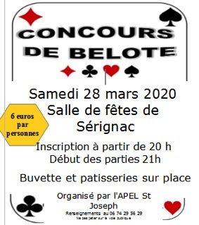 CONCOURS DE BELOTE #Sérignac @ Salle des Fêtes