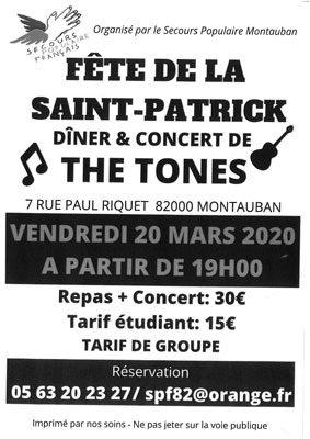 DINER CONCERT DE LA SAINT PATRICK #Montauban @ Secours Populaire