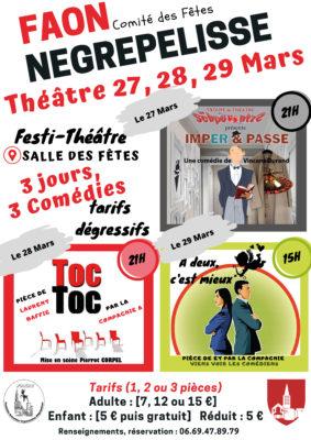 FESTI-THÉÂTRE - 3 JOURS / 3 COMÉDIES #Nègrepelisse @ Salle des Fêtes
