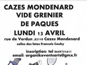 VIDE GRENIER DE PÂQUES #Cazes-Mondenard @ Salle des fêtes Francois Cauby