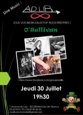 ALIGOT SAUCISSE CONCERT ADLIB SOIRÉE POP ROCK #Monclar-de-Quercy @ O'Sullivan