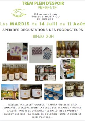 APÉRITIFS DÉGUSTATIONS DES PRODUCTEURS #Montaigu-de-Quercy @ Trem plein d'Espoir