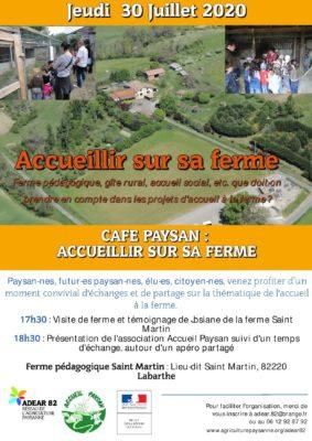 CAFÉ PAYSAN : RENCONTRE CONVIVIALE SUR LA THÉMATIQUE DE L'ACCUEIL À LA FERME #Labarthe @ Ferme pédagogique Saint-Martin