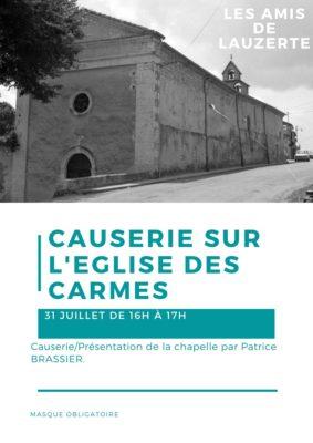 CAUSERIE/PRÉSENTATION DE LA CHAPELLE #Lauzerte @ Eglise des Carmes
