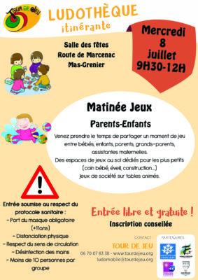 MATINÉE JEUX PARENTS-ENFANTS #Mas-Grenier @ Salle des fêtes
