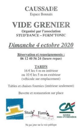 VIDE-GRENIER ANNUEL ASSOCIATION STUD'DANCE-FOM'TONIC #Caussade @ Espace Bonnaïs