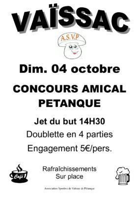 CONCOURS AMICAL DE PETANQUE #Vaïssac