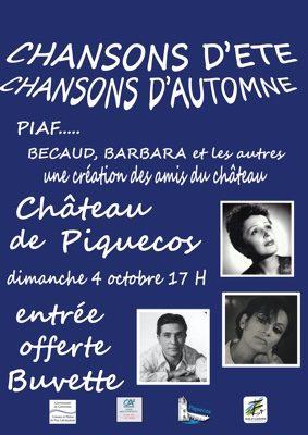 """SPECTACLE MUSICAL """"CHANSONS D'ÉTÉ, CHANSONS D'AUTOMNE"""" #Piquecos @ Château"""