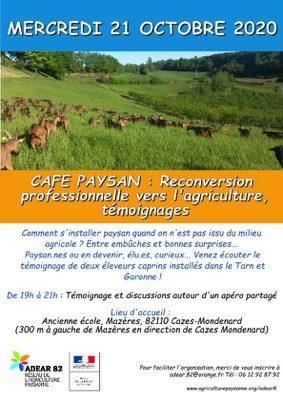 CAFÉ PAYSAN: RECONVERSION PROFESSIONNELLE VERS L'AGRICULTURE #Cazes-Mondenard @ Ancienne école de Mazères