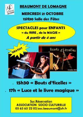 """SPECTACLES ENFANT """"RIRE ET MAGIE"""" #Beaumont-de-Lomagne @ Salle des Fêtes"""