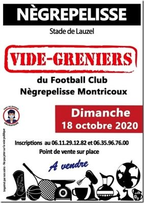 VIDE GRENIER ORGARNISE PAR LE FCNM #Nègrepelisse @ STADE DE FOOT