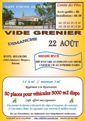 VIDE GRENIER D'ÉTÉ #Saint-Étienne-de-Tulmont @ Place du Tulmonenc